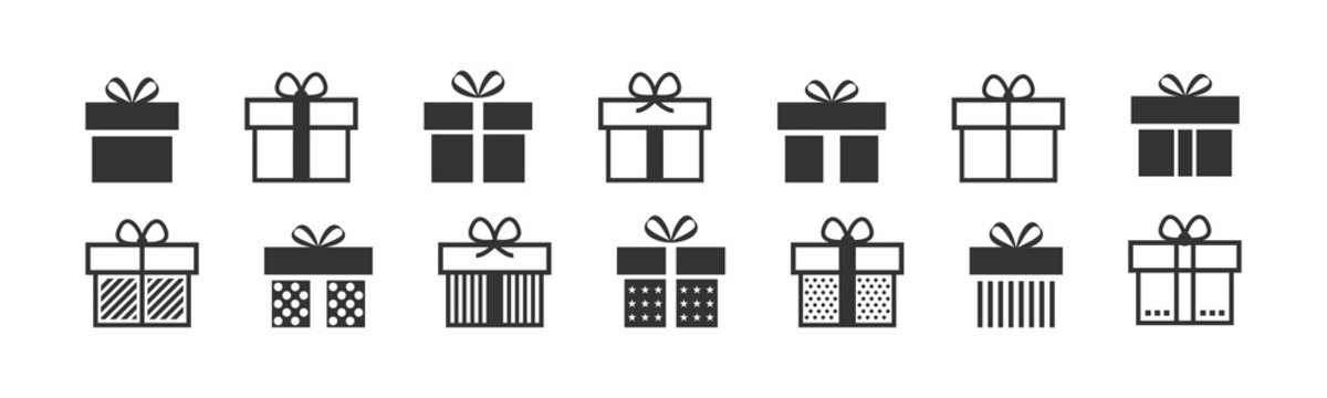 Gift box icon. Present symbol. Christmas box. Surprise with gift box in flat style. Set with gift in linear style. Vector