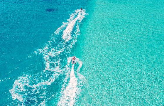 Maldives atoll island Aerial view