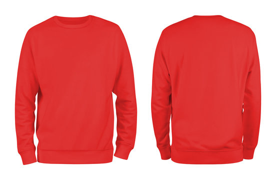 Men's red blank sweatshirt template,from two sides, natural shape on invisible mannequin, for your design mockup for print, isolated on white background..