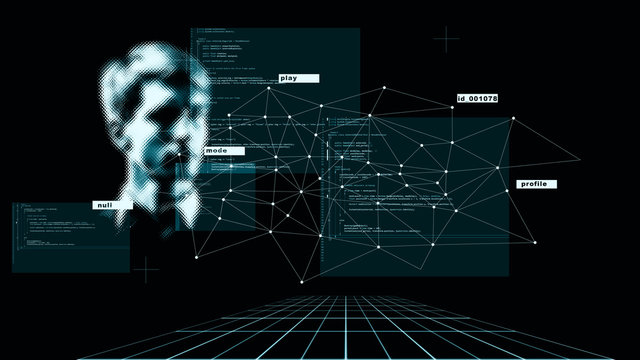 Abstract concept, digital identity, identification and scanning. Modern digital technologies,
