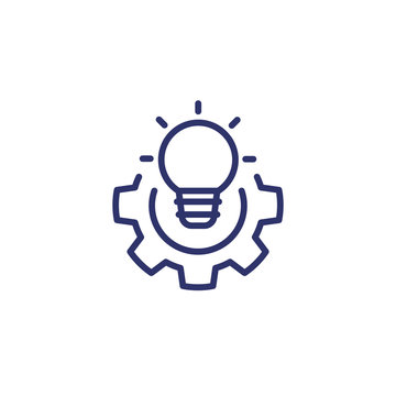 solution line icon with light bulb and gear
