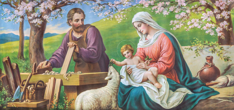 SEBECHLEBY, SLOVAKIA - AUGUST 13, 2020: Typical catholic image  image of Holy Family from the beginn of 20. cent.  printed in Italy originally by Sonino painter.