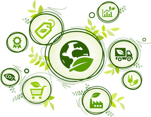 Fototapeta Sustainable business or green company vector illustration. Concept with connected icons related to environmental protection and eco sustainability in an organization. obraz
