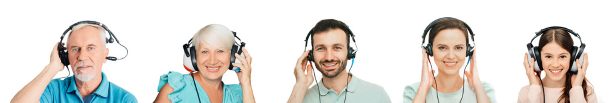 Hearing test, hearing diagnostic, audiometry. People of all ages have a hearing test with special headphones. Audiology for the whole family