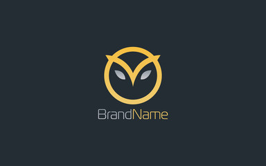 Owl head logo with luxury gold color