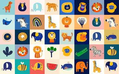 Fototapete - Abstract doodles. Baby animals pattern. Fabric pattern. Vector illustration with cute animals. Nursery baby pattern illustration. Children game