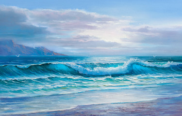 Original oil painting of sea and beach on canvas.Rich  Sunset over sea.