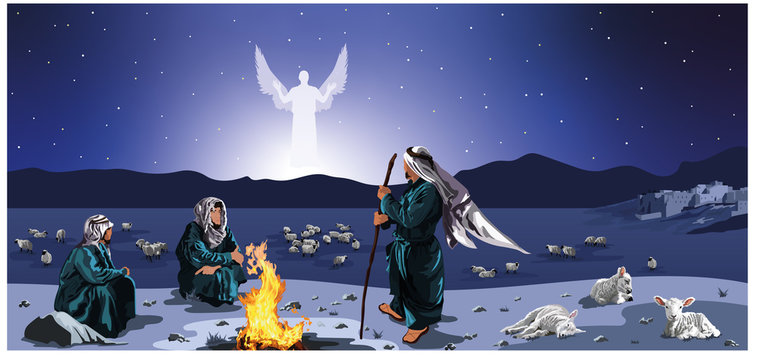Shepherds Watch Their Flock By Night - with town of Bethlehem, angel, sheep, lambs, campfire, three shepherds vector