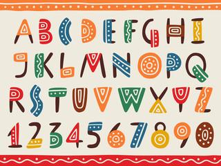 Photo sur Plexiglas Style Boho Tribal ethnic bright alphabet and number