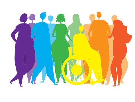 Silhouettes of people, men, women, disabled people in a wheelchair as an end to the inclusiveness of the lgbtq community, vector stock illustration with homosexuals or rainbow pride