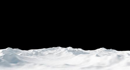 Snowdrift isolated on black background 3D render