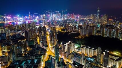 Wall Mural - Timelapse of Hong Kong city at night