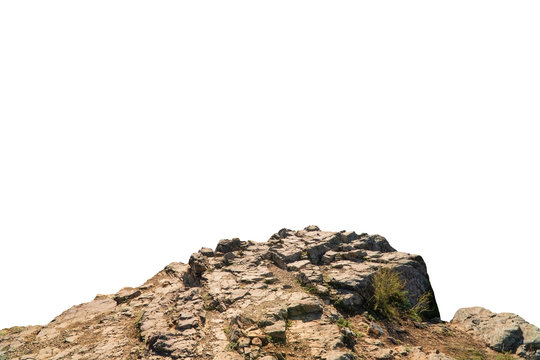 Rock mountain slope foreground close-up isolated on white background. Element for matte painting, copy space.