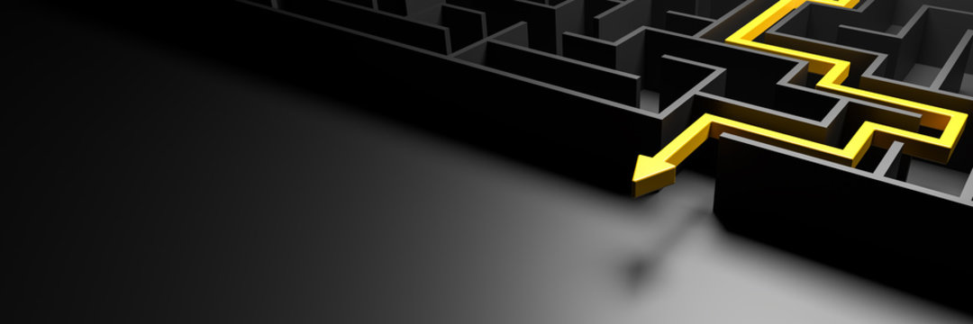 3d rendering: Concept - solving a complex problem. Black maze and floor with yellow solution path with arrow. Low key image, banner size.