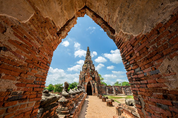 Remains of ancient temples in the historical site Ayutthaya in Thailand