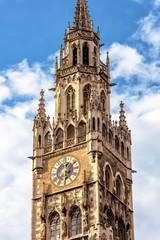 Fototapete - Clock Tower or Glockenspiel of Rathaus (New Town Hall) on Marienplatz square, Munich, Bavaria, Germany.