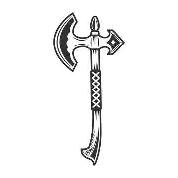 Viking battle axe with wooden handle in vintage monochrome style isolated vector illustration