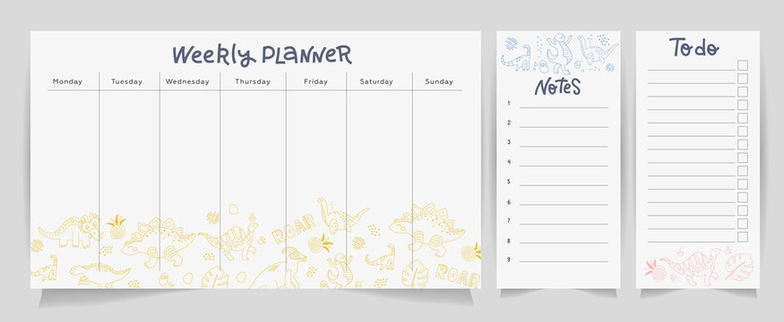Set of cute dino planners and to do list with Scandinavian design style and lettering. Template for stationery. Isolated. Vector linear doodle illustration