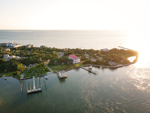 Aerial View of Village on Ocracoke Island, North Carolina at Golden Hour