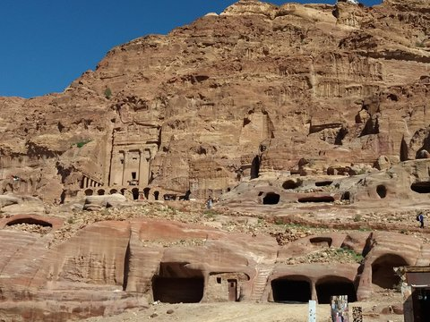 View of the Tombs in the City of Petra, Jordan