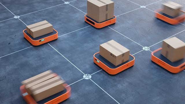 Robotized logistics warehouse.