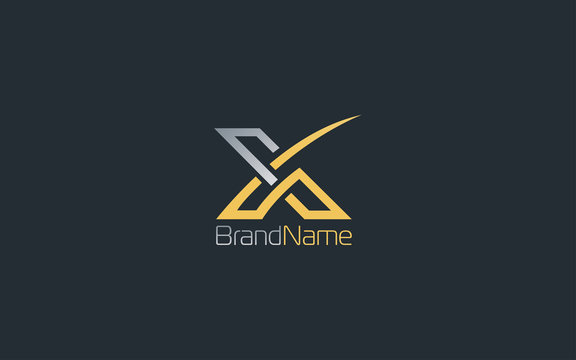 Letter X logo with luxury gold color