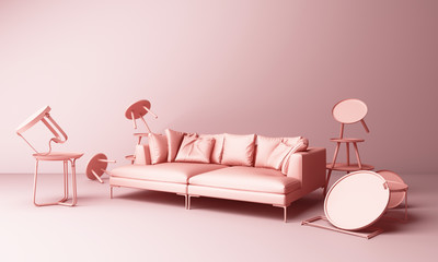 Pink pastel sofa surrounding by coffee table minimal concept 3d rendering