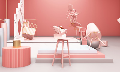 chair with Geometric shape with marble texture 3d rendering