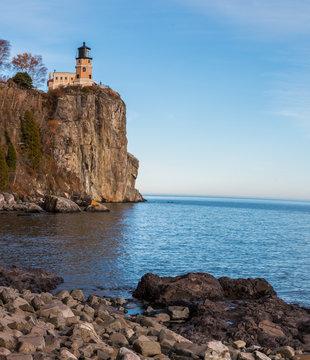 Historic Split Rock Lighthouse Sits On A High Bluff Overlooking Lake Superior, Split Rock State Park, Minnesota, USA