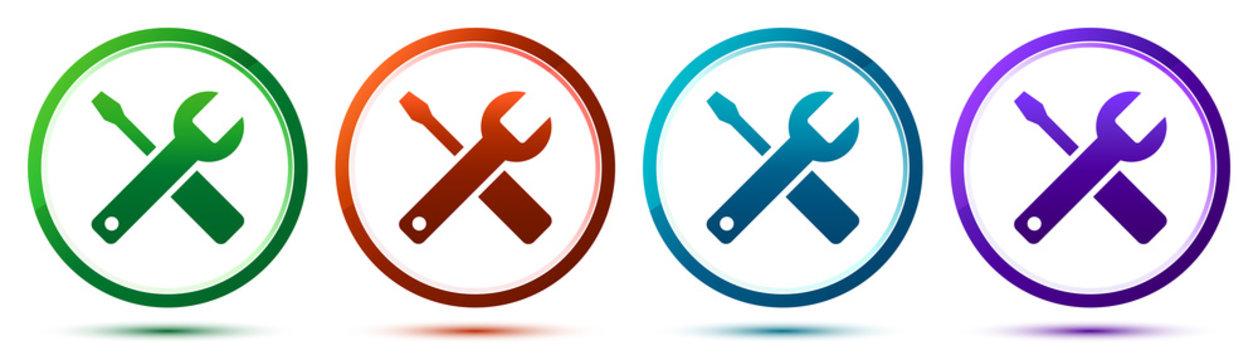 Tools icon artistic frame round button set illustration