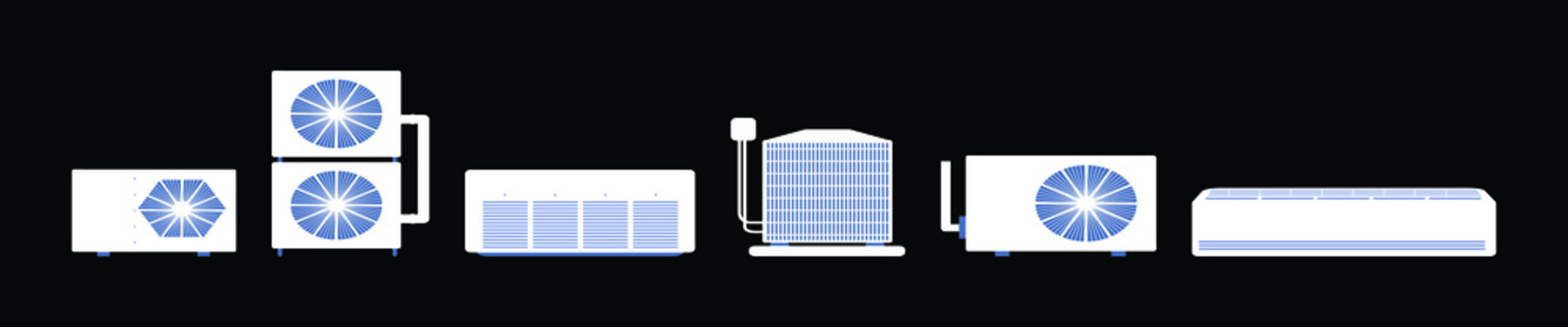 Air conditioner or air conditioning and air compressor part of hvac system vector icon set design isolated on black