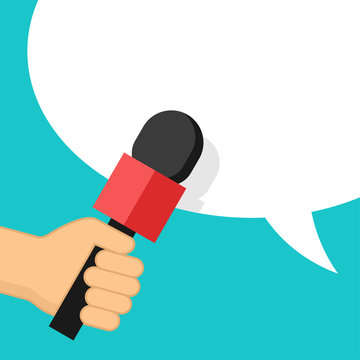 Media interview or TV report - microphone in hand and dialog box on bright background - vector template for breaking news headline, banner or poster