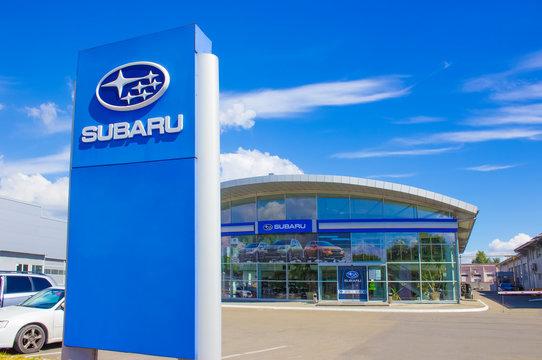Kyiv, Ukraine - August 15, 2020: Logo sign of Subaru car dealer at Kyiv, Ukraine