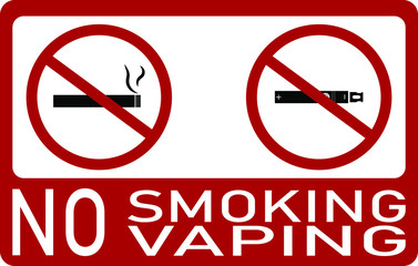 Vector illustration with the text No smoking, no vaping. Restriction, prohibition sign.