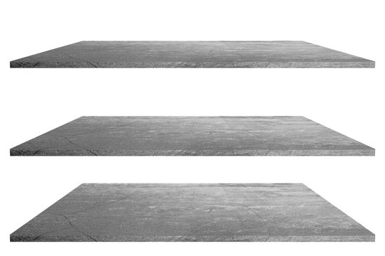 Stone top table or shelf on white background blank template for displaying products.