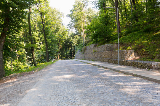 Cobblestone road in the wood with rock structure to prevent landslide