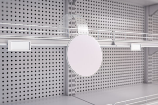 Empty white supermarket shelves with label tag. Promotion and price of product