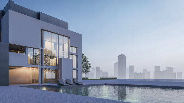 3D Rendering Of Swimming Pool House Visualisation