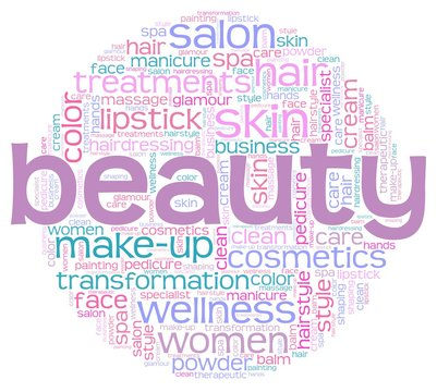 Beauty word cloud isolated on a white background.