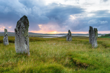 Wall Mural - Sunset over the Callanish IV stone circle