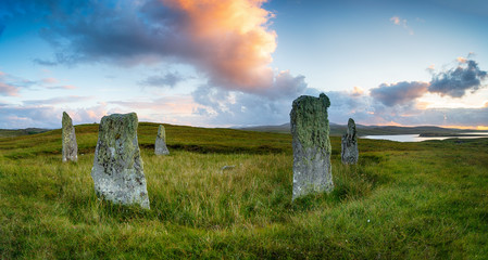 Wall Mural - Sunset at the Ceann Hulavig also known as the Callanish IV Stone Circle