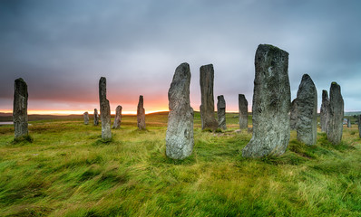 Wall Mural - Moody sunset over the Callanish Standing Stones on the Ilse of Lewis