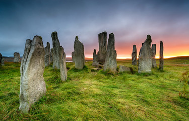 Wall Mural - Stormy sunset over the Callanish Stones
