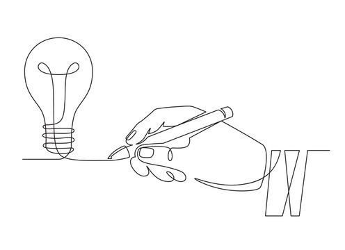 Light bulb idea. Sketch hand with pen drawing one line bulb, invention or creative thinking symbol. New project, brainstorm vector concept. Start up idea, new business creation illustration