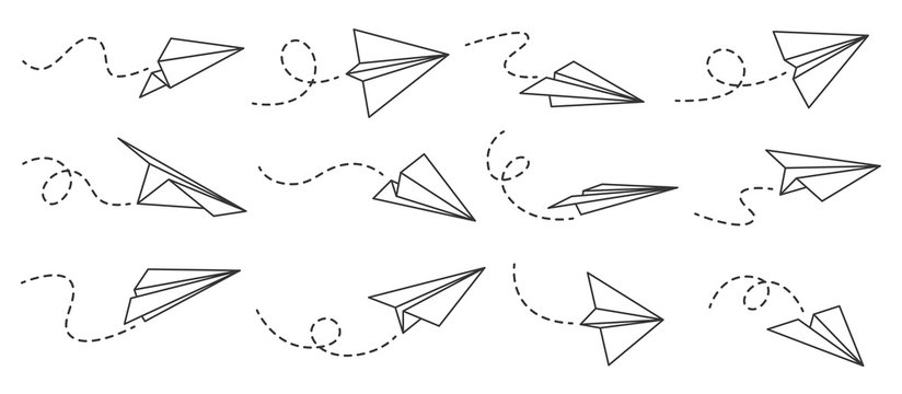 Paper airplane. Outline flying planes from different angles and direction with dotted track, travel or message symbols, linear vector set. Curved route with aircraft for mail delivery