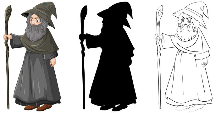 Wizard in color and outline and silhouette cartoon character isolated on white background