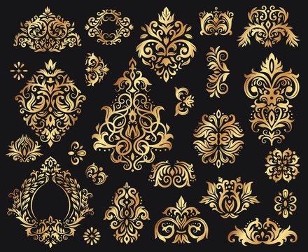 Golden damask ornament. Vintage floral sprigs pattern, baroque ornaments for decoration. Elegant elements for luxury decoration. Royal floral abstract decor on black vector illustration