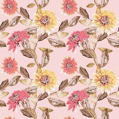 Dahlia flowers seamless pattern, watercolor illustration.