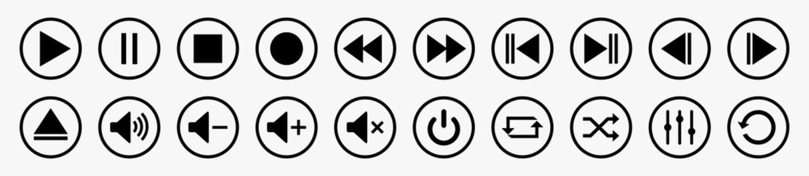 Media player control icon set, multimedia symbols and audio – stock vector