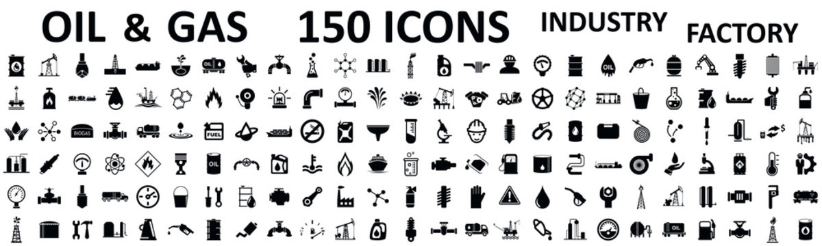 Set 150 oil and gas factory industry isolated icons – stock vector